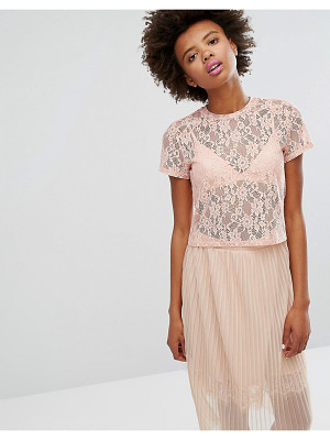 Monki Boxy Lace T-Shirt