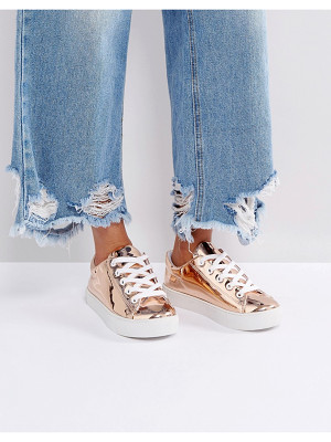 Monki Metallic High Shine Sneakers