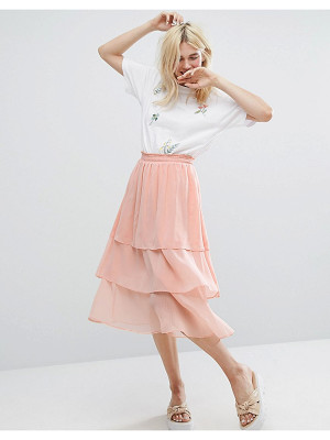 MONKI Ruffle Layered Midi Skirt
