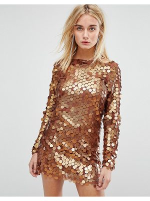 MOTEL Mini Dress In Shimmer Disc Sequin