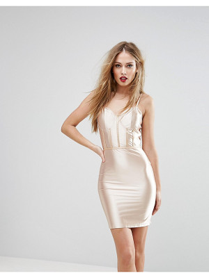 NaaNaa High Shine Bodycon Dress With Paneled Corset Detail