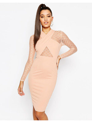NAANAA Midi Dress With Wrap Front And Mesh Sleeves