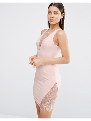 NAANAA Plunge Mini Dress With Lace Insert