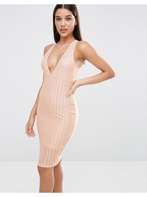 NAANAA Plunge Neck Bodycon Midi Dress