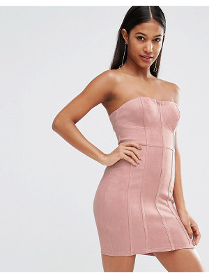 NAANAA Suedette Bandeau Bodycon Dress With Corset Detail