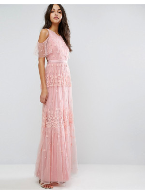 Needle & Thread Daisy Embroidery Maxi Dress With Cold Shoulder