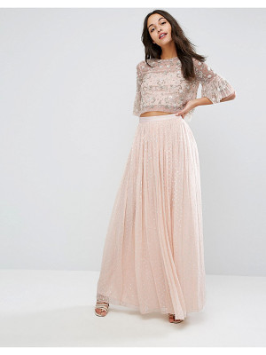 NEEDLE & THREAD Metallic Chiffon Maxi Skirt