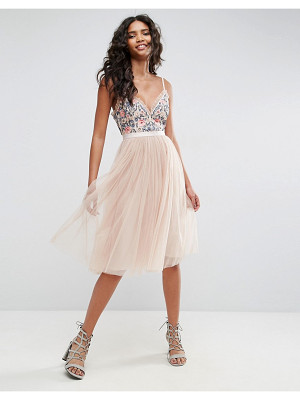 NEEDLE & THREAD Whisper Embroidered Tulle Midi Dress