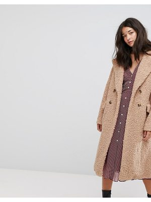 Neon Rose Oversized Cocoon Coat In Faux Shearling