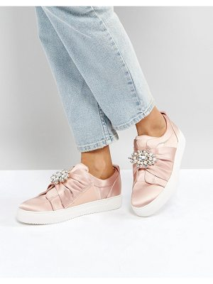 NEW LOOK Embellished Brooch Satin Sneaker