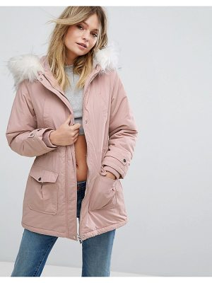 New Look Faux Fur Hood Parka Coat
