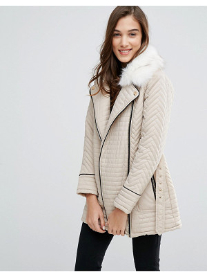 New Look Faux Fur Quilted Biker Jacket
