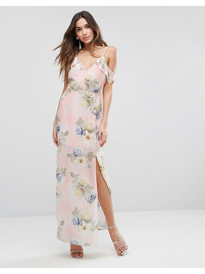 New Look Floral Print Cold Shoulder Maxi Dress