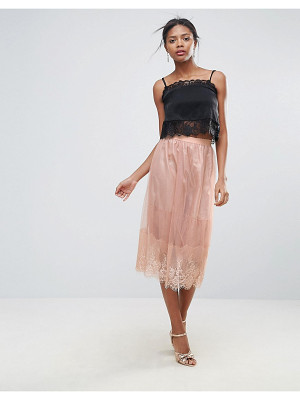 NEW LOOK Lace Trim Tulle Midi Skirt