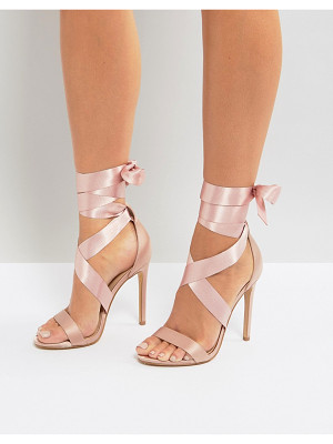 NEW LOOK Satin Ankle Tie Heeled Sandals