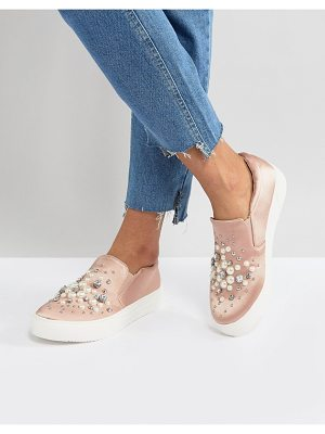 NEW LOOK Slip On Pearl Detail Satin Sneaker
