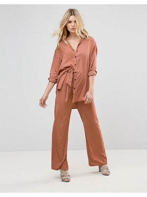 NONE THE RICHER None The Richer Wasson Silk Blend Wide Leg Pants