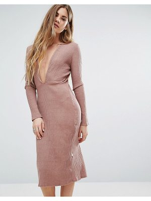 NYTT Long Sleeve Plunge Front Dress In Pink