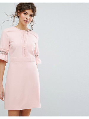 Oasis Lace Fluted Sleeve Shift Dress