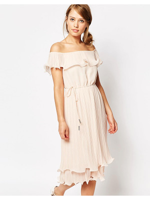 OASIS Pleated Ruffle Bardot Midi Dress