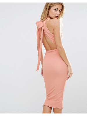 OH MY LOVE Bow Back Midi Dress