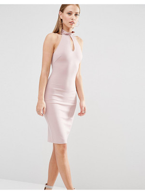 OH MY LOVE Frill Neck Racer Midi Dress With Keyhole