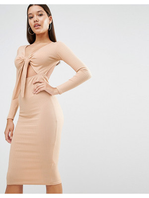 Oh My Love Midi Dress in Rib with Front Bow