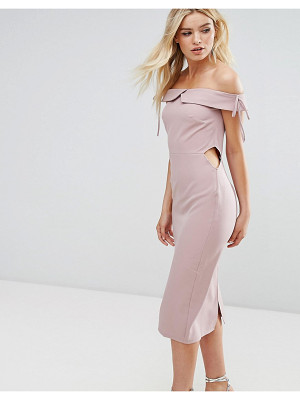 OH MY LOVE Off Shoulder Midi Pencil Dress