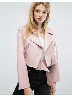 Outstanding Ordinary faux leather jacket with belt detail