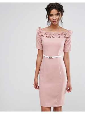 PAPER DOLLS Bardot Midi Dress With Belt And Ruffle Detail