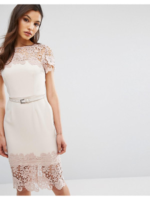 PAPER DOLLS Cap Sleeve Midi Dress With Lace Detail