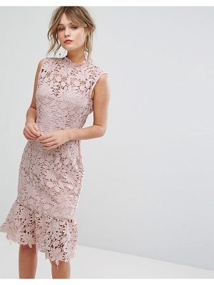 Paper Dolls high neck lace dress with pephem