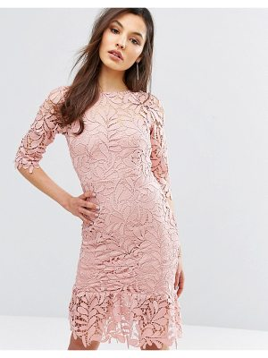 Paper Dolls Lace Midi Dress with Peplum Hem and 3/4 Sleeve