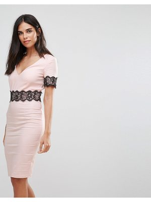 Paper Dolls Lace Trim Pencil Midi Dress