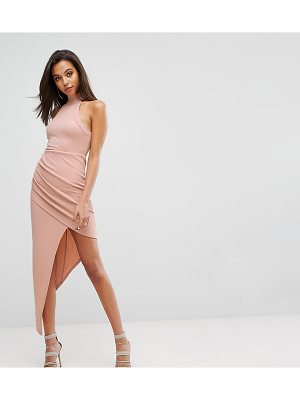 PARALLEL LINES High Neck Bodycon Dress With Wrap Front