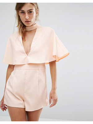 PARALLEL LINES Romper With High Neck Deep V And Cape Back
