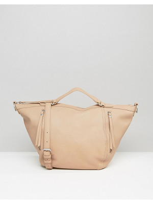Pieces Slouchy Winged Tote Bag in Blush