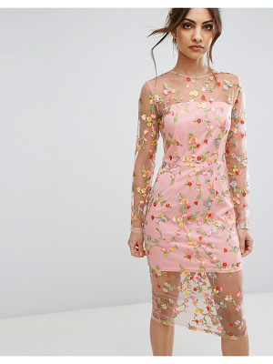 PRETTYLITTLETHING Embroidered Sheer Midi Dress