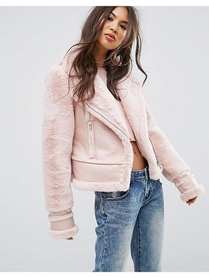 PRETTYLITTLETHING Faux Suede Aviator Jacket
