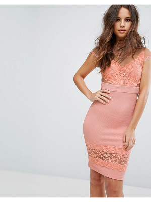 PRETTYLITTLETHING Mesh Insert Lace Dress