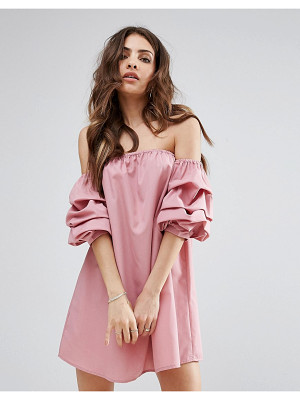PrettyLittleThing ruched bardot sleeve shift dress