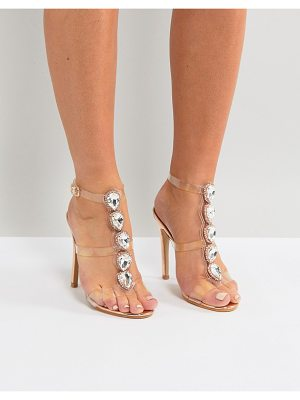 Public Desire Azalea Rose Gold Clear Strap Embellished Heeled Sandals
