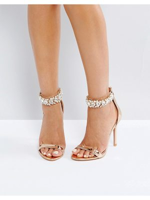 PUBLIC DESIRE Fiji Rose Gold Crystal Ankle Heeled Sandals