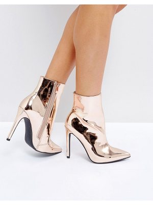 PUBLIC DESIRE Harlee High Shine Rose Gold Heeled Ankle Boots