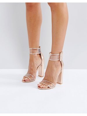 PUBLIC DESIRE Mission Rose Gold Clear Strap Block Heeled Sandals