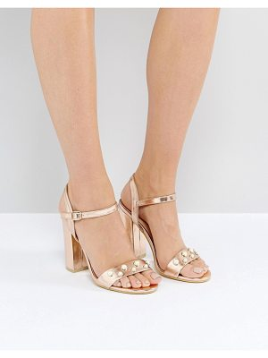 PUBLIC DESIRE Oklahoma Rose Gold Pearl Detail Heeled Sandals