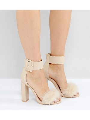 PUBLIC DESIRE Power Faux Fur Block Heeled Sandals