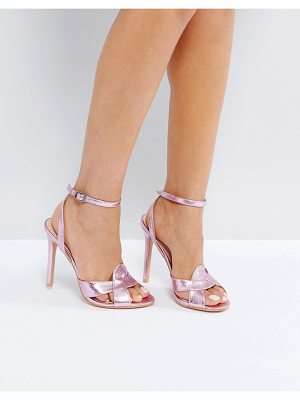 Public Desire Radiance Pink Cross Strap Heeled Sandals