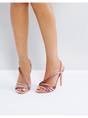 Public Desire Seek Blush Velvet Strappy Heeled Sandals