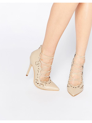 Public Desire Una Nude Lace Up Heeled Shoes